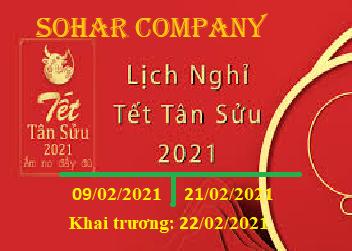 Công ty Sohar thông báo lịch nghỉ tết Nguyên Đán Tân Sửu image